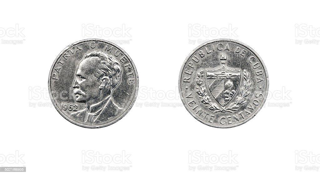 Coin 20 centavos. The Republic of Cuba stock photo