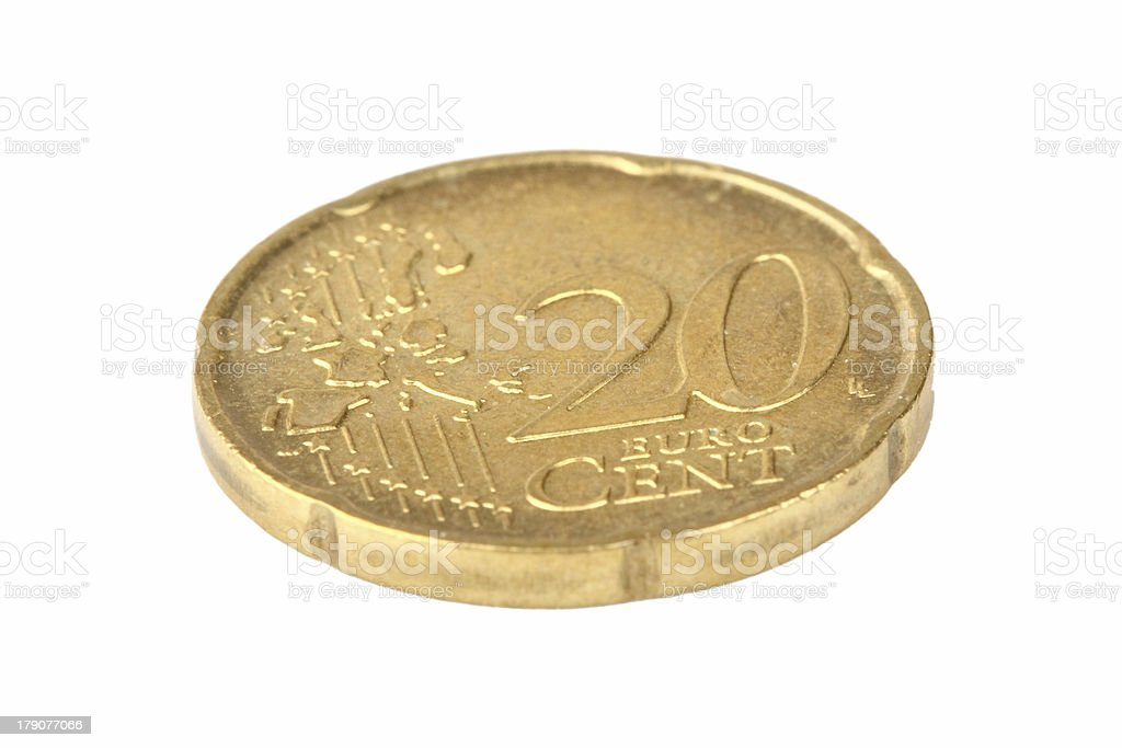 coin 20 eurocents stock photo