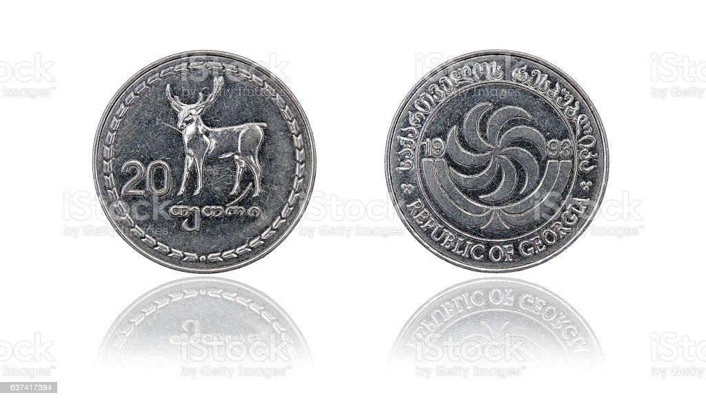 Coin 20 tetri GEL. Republic of Georgia stock photo