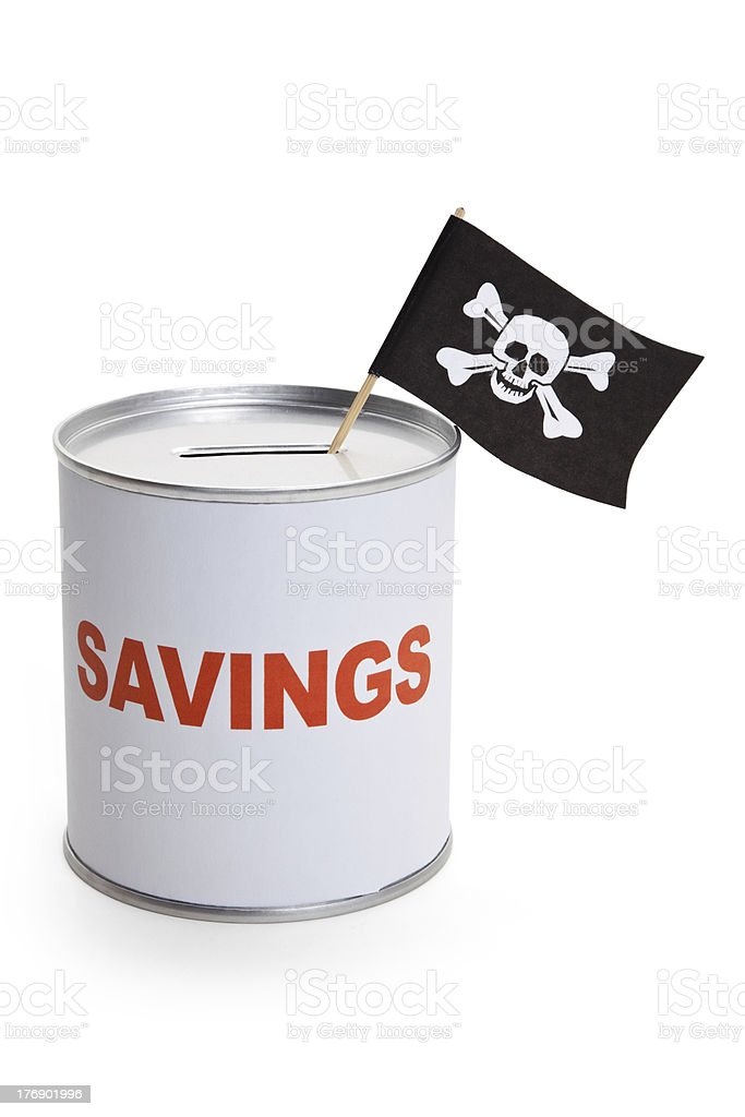 Coin Bank and Pirate Flag stock photo