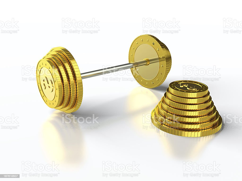 Coin barbell stock photo