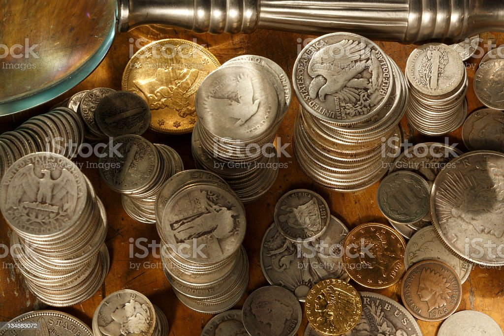 Coin collecting 101. stock photo