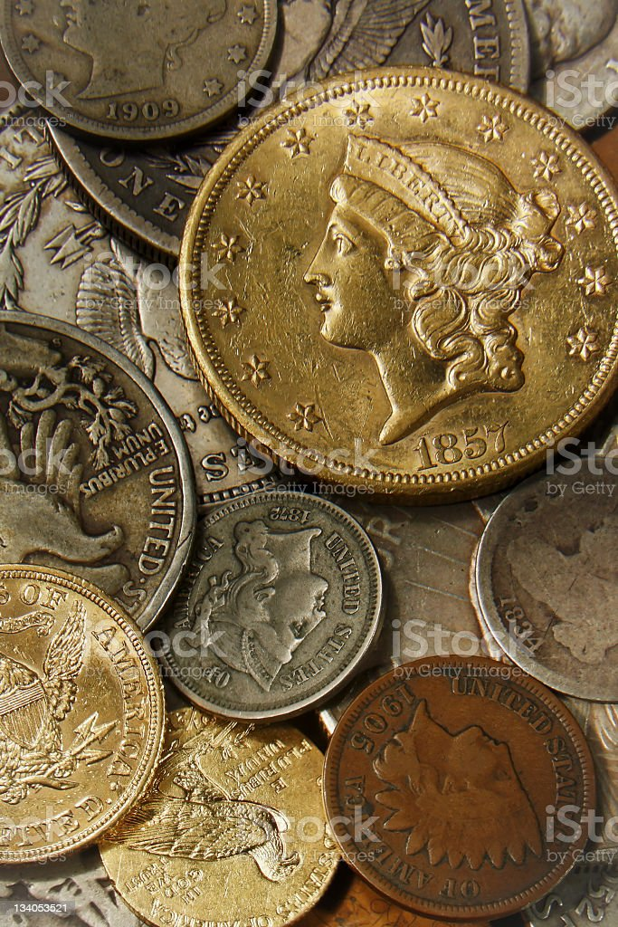 Coin collection. stock photo