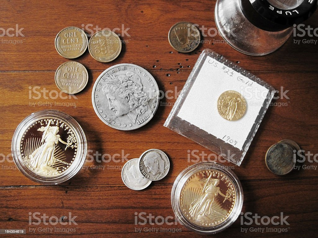 Coin Collection - Rare U.S. Coins stock photo