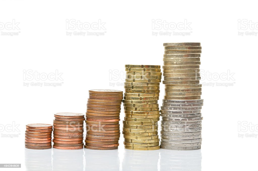 Coin columns isolated over white stock photo