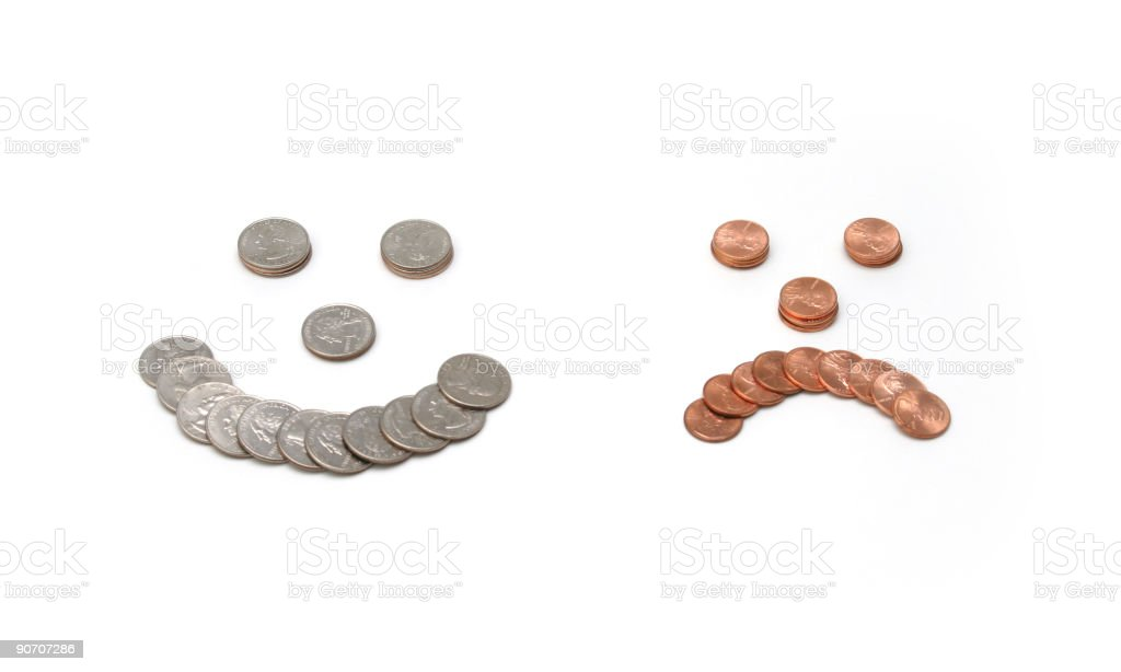 Coin faces stock photo