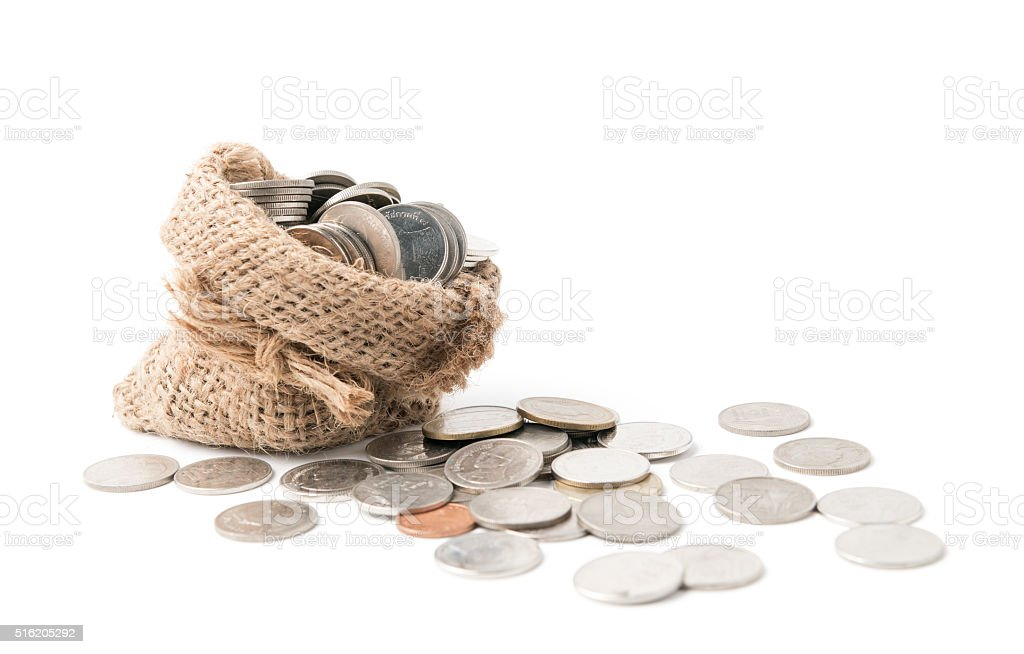 coin in sack isolated stock photo