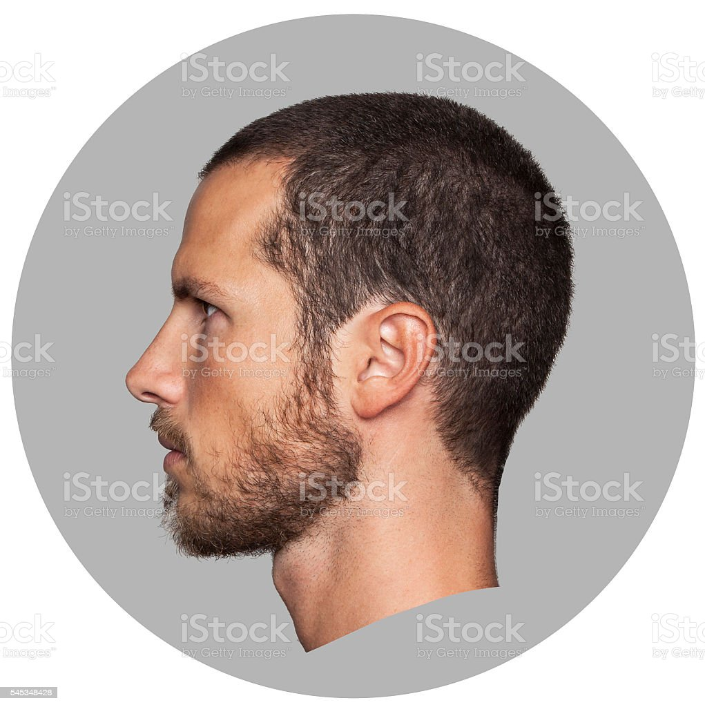 coin like portrait of an handsome young man profile stock photo
