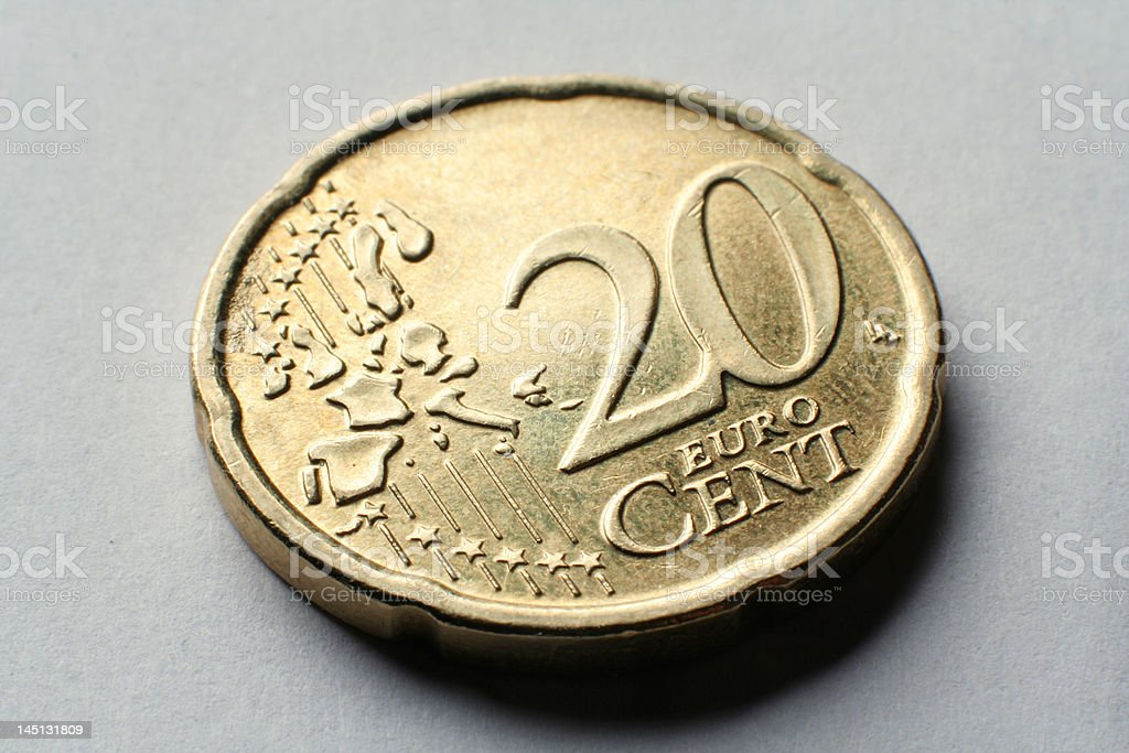coin macro 20 euro cent stock photo