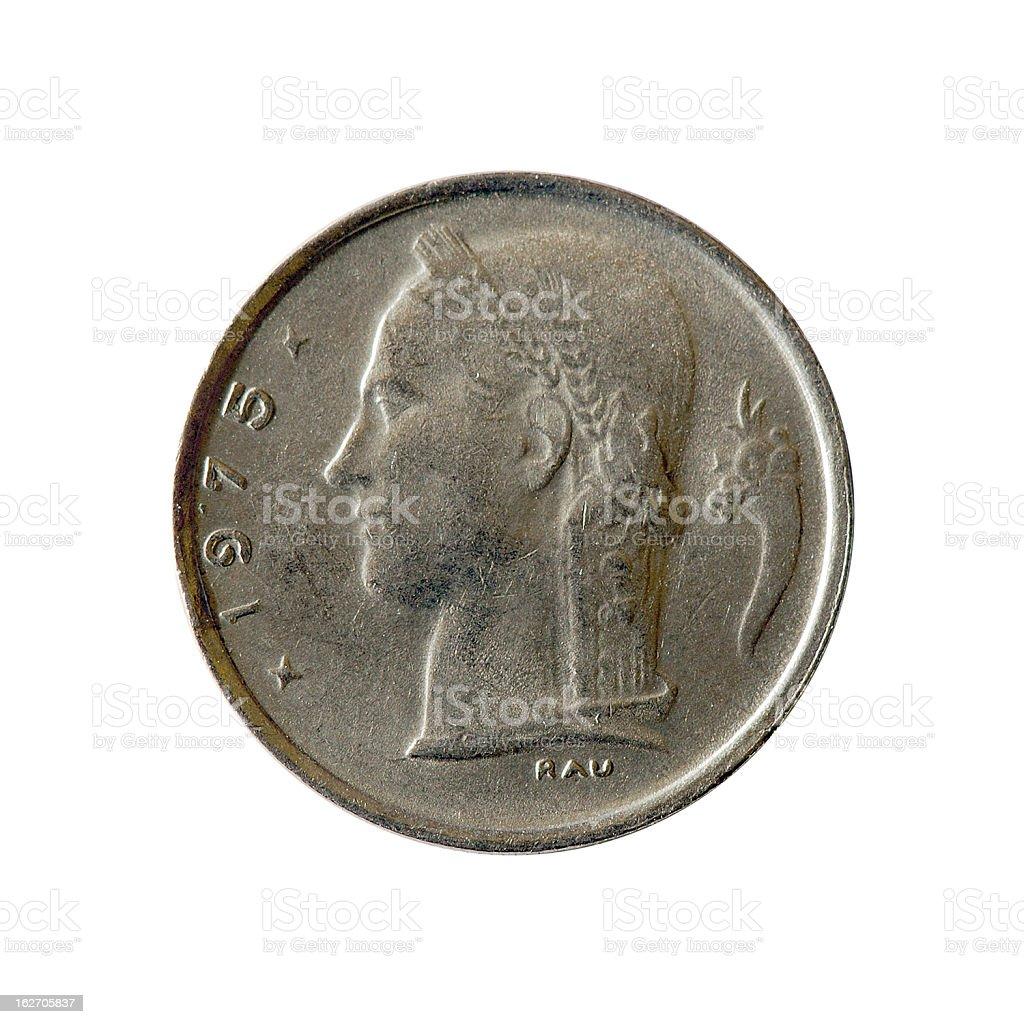 Coin macro isolated on white: 1 Belgian Franc stock photo