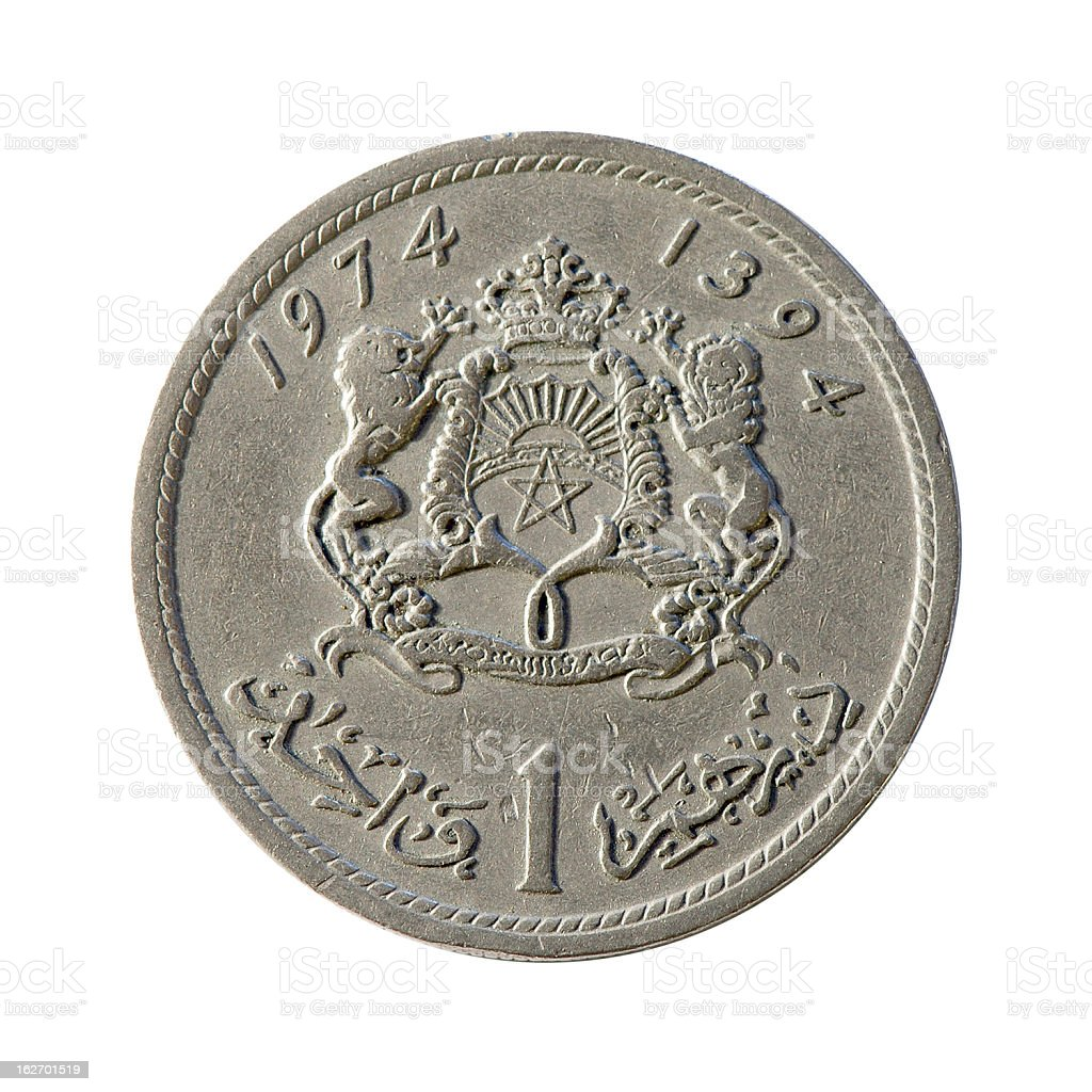 Coin macro isolated on white: 1 Moroccan Dirham royalty-free stock photo