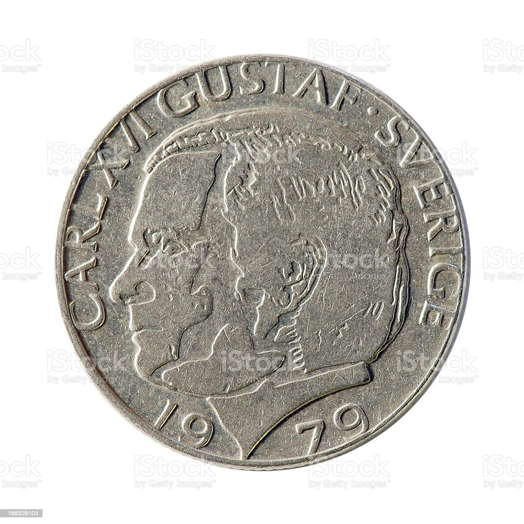 Coin macro isolated on white: 1 Swedish Krone stock photo