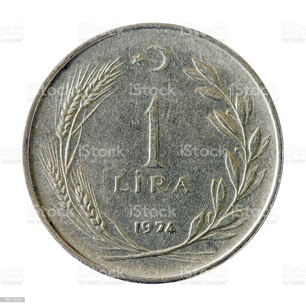 Coin macro isolated on white: 1 Turkish Lira stock photo