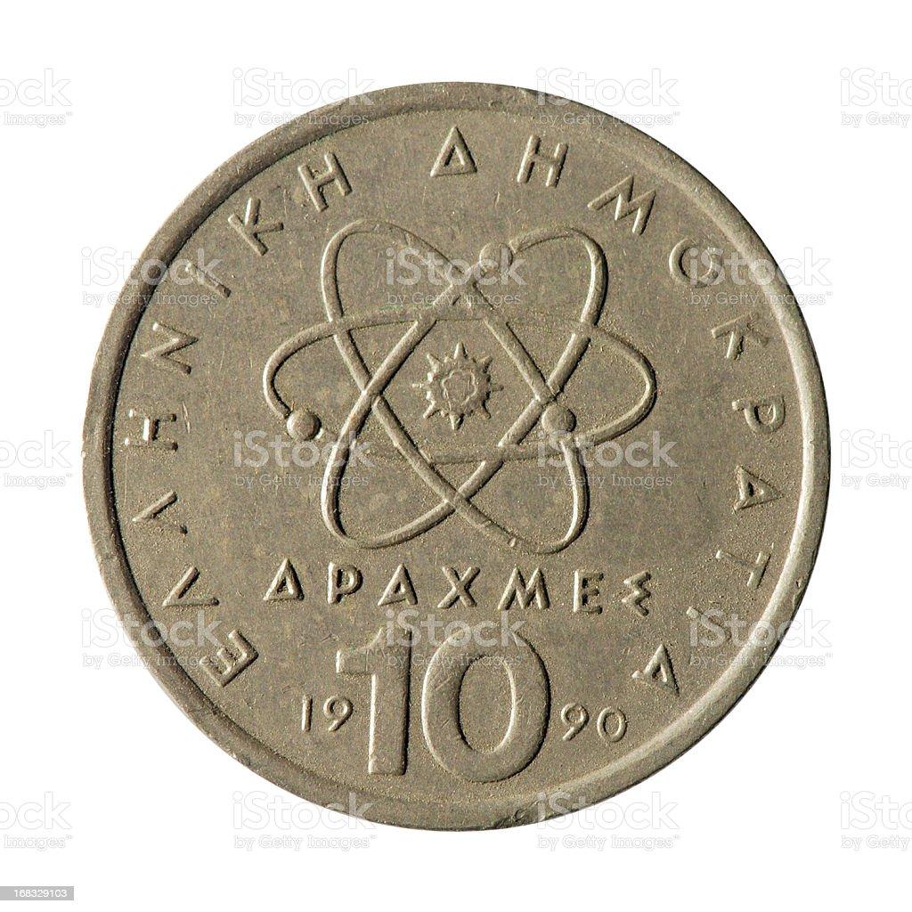 Coin macro isolated on white: 10 Greek Drachma stock photo