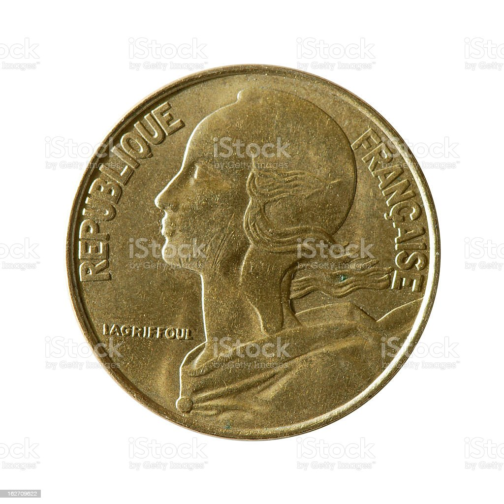 Coin macro isolated on white: 20 Centimes of French Franc royalty-free stock photo