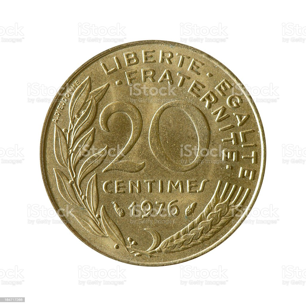 Coin macro isolated on white: 20 Centimes of French Franc stock photo