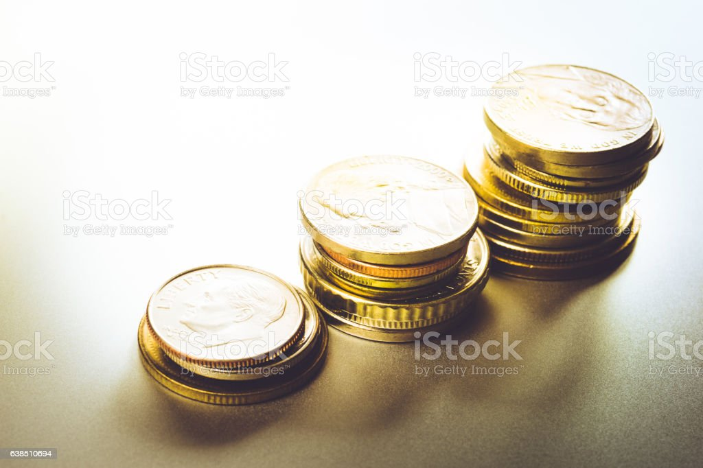 Coin money stacked growing.financial stock photo