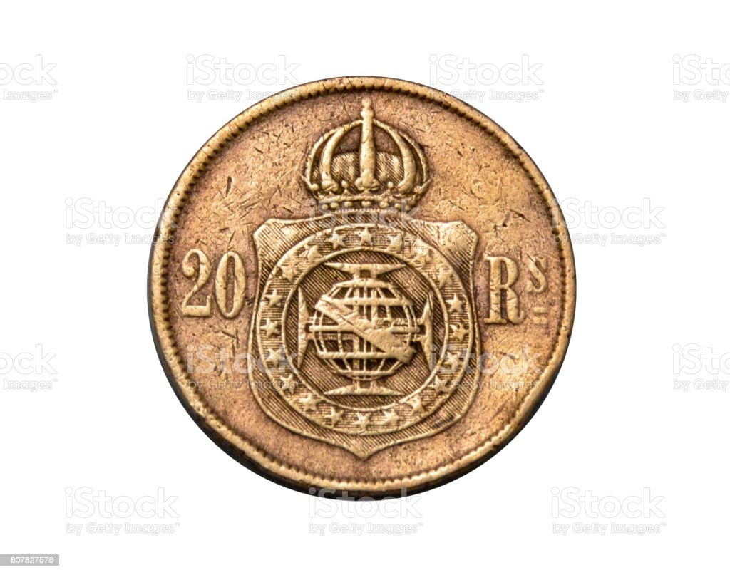 Coin of Brazil Empire, 20 Réis, Year 1868, bronze, reverse, isolated on white background stock photo