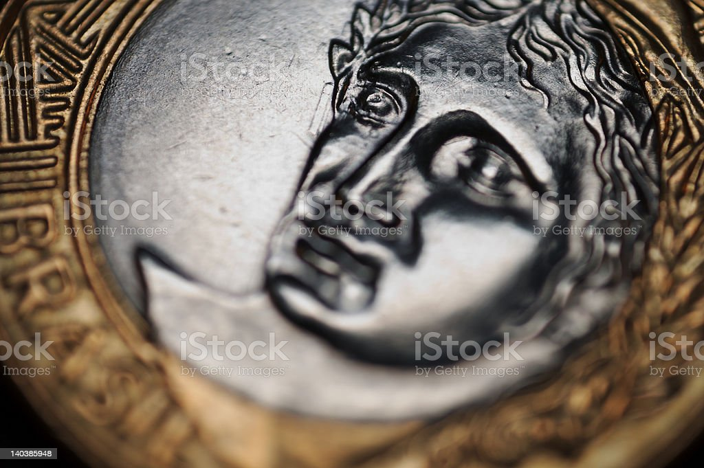 Coin of one Real stock photo