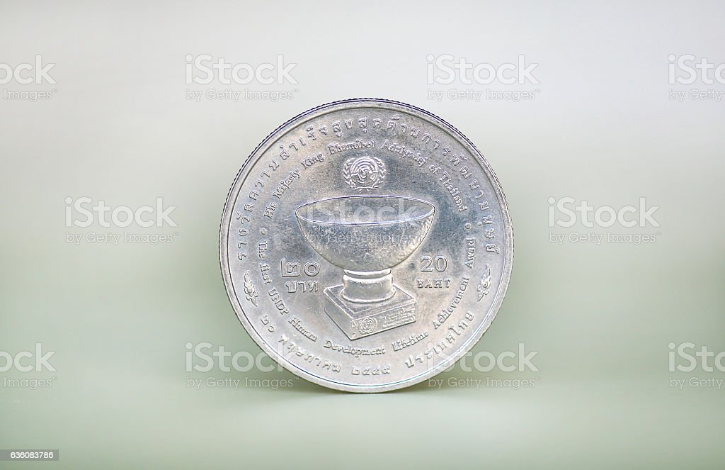 Coin of Thailand, King Bhumibol Adulyadej stock photo