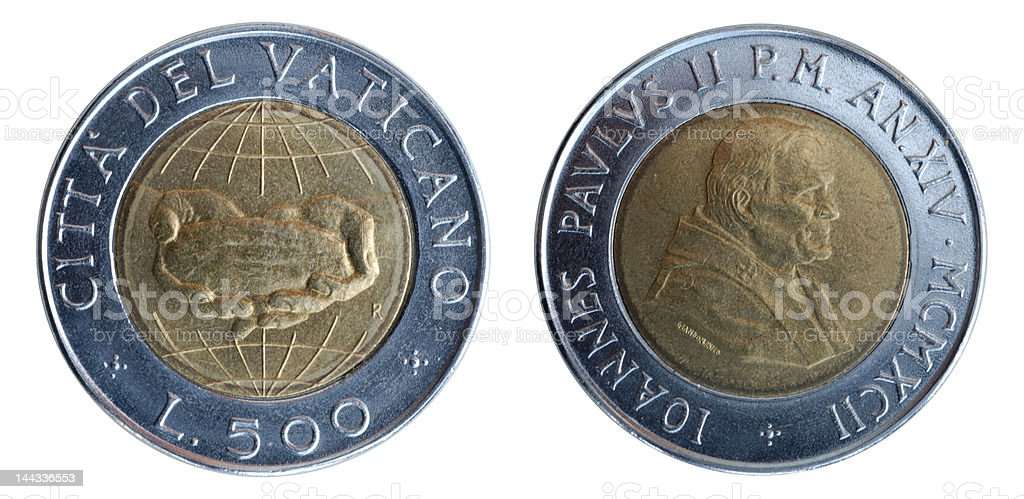 Coin of Vatican stock photo