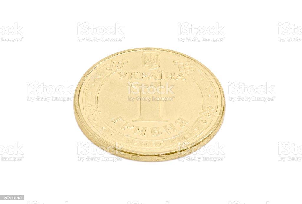 Coin one Ukrainian hryvnia on a light background stock photo