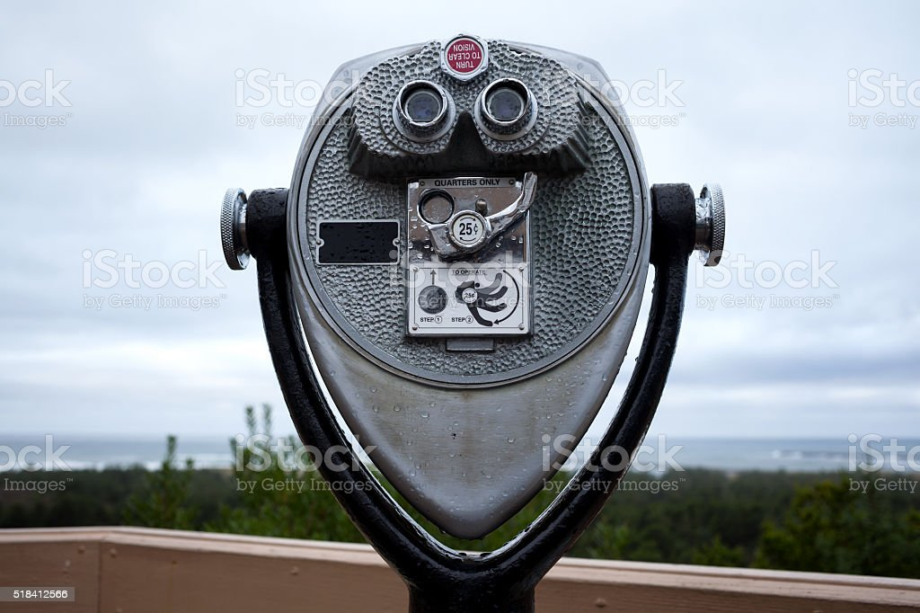Coin operated binoculars 4 whale watching stock photo
