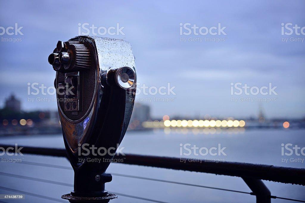 Coin operated binoculars at NYC royalty-free stock photo