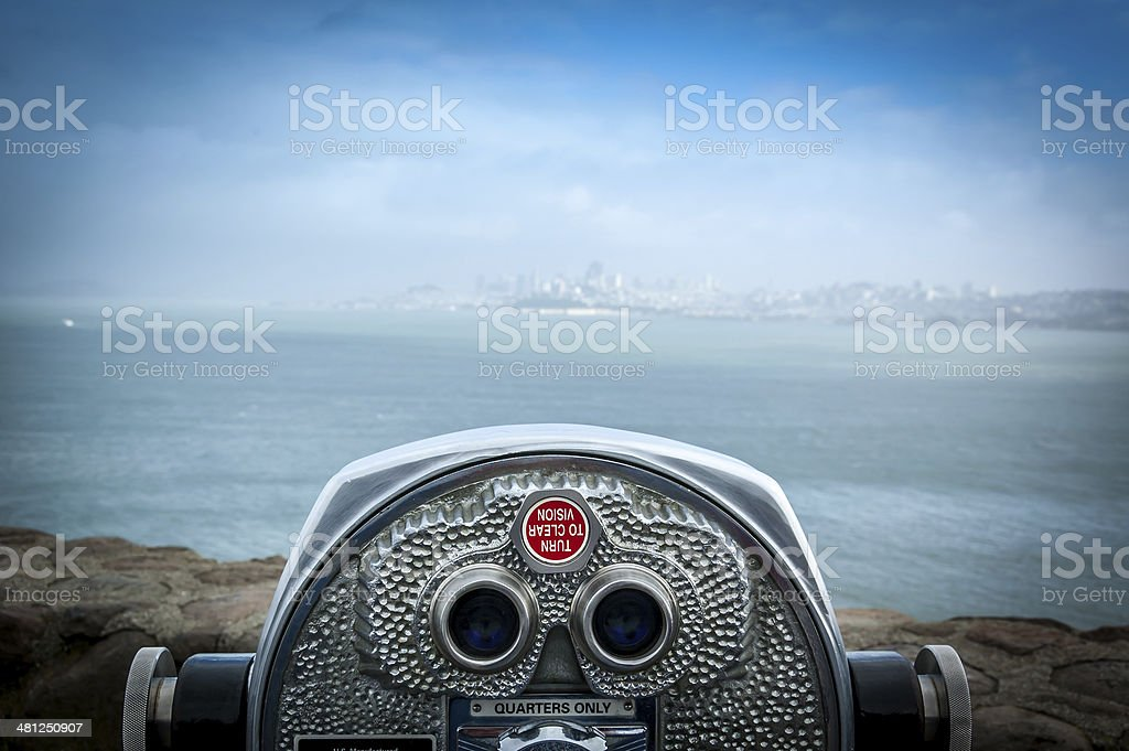 Coin operated binoculars stock photo