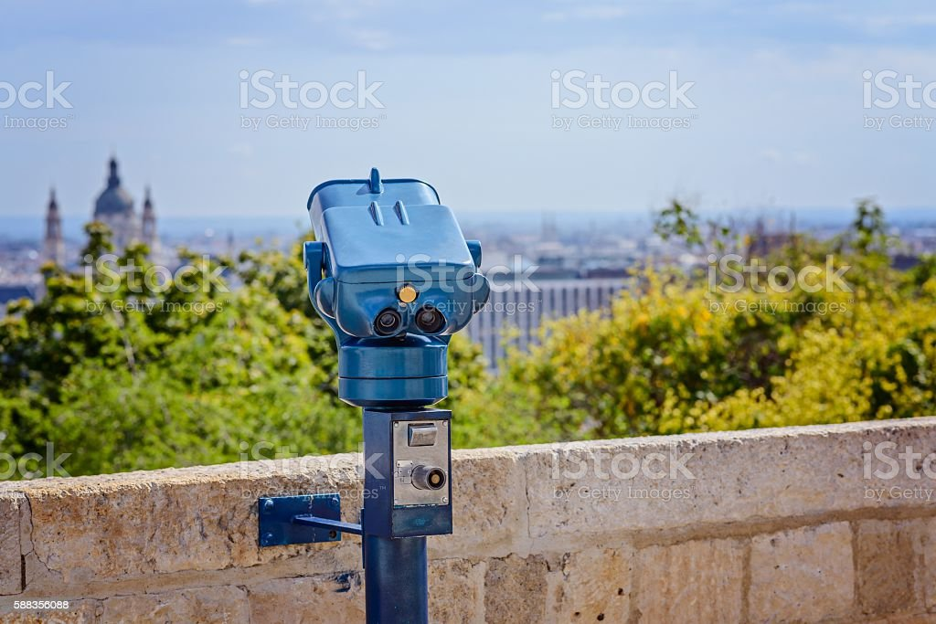 Coin operated public telescope in Budapest stock photo