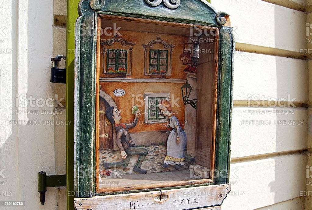 Coin operated puppet theatre, Prague. stock photo
