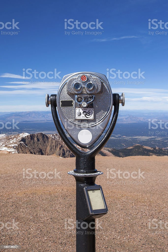 coin operated telescope on Pike peak summit, Colorado springs stock photo