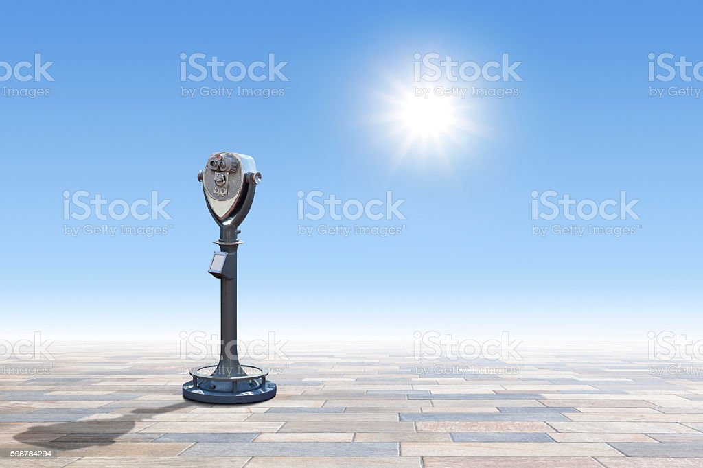 Coin Operated Telescope With Sunburst In The Sky stock photo