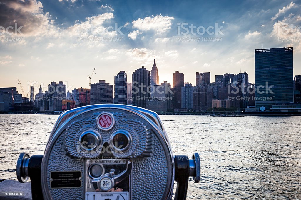 Coin Operated Viewfinder with Manhattan in View stock photo