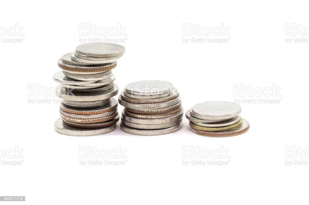 Coin pile Thai baht, on white background, Isolated stock photo