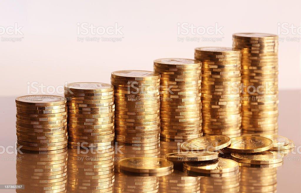 Coin piles stock photo