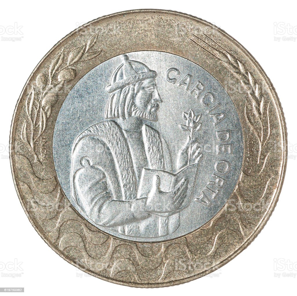 Coin Portuguese escudo stock photo