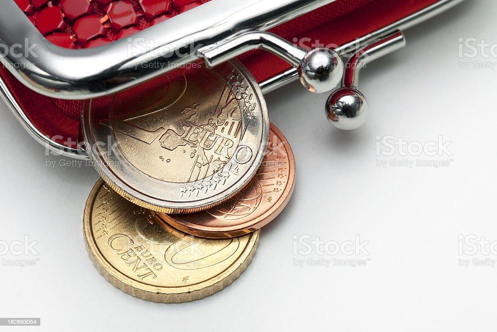 Coin purse with some euros stock photo
