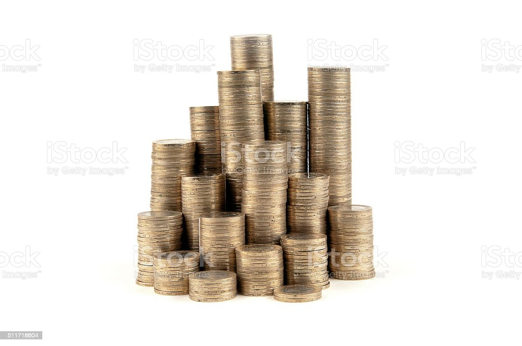 Coin Pyramid stock photo