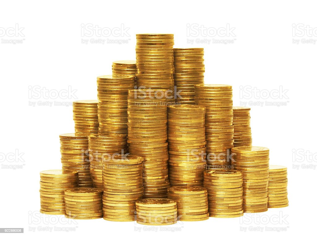 Coin pyramid. stock photo
