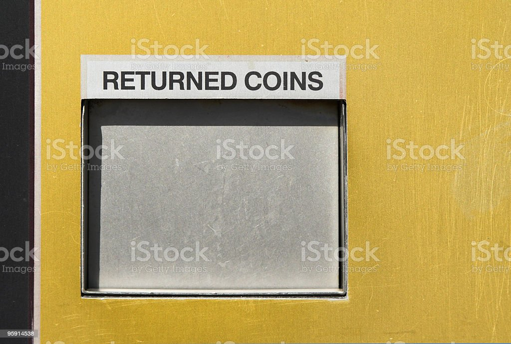 Coin Return Shute stock photo