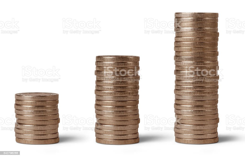 Coin rolls on white backgrounds stock photo