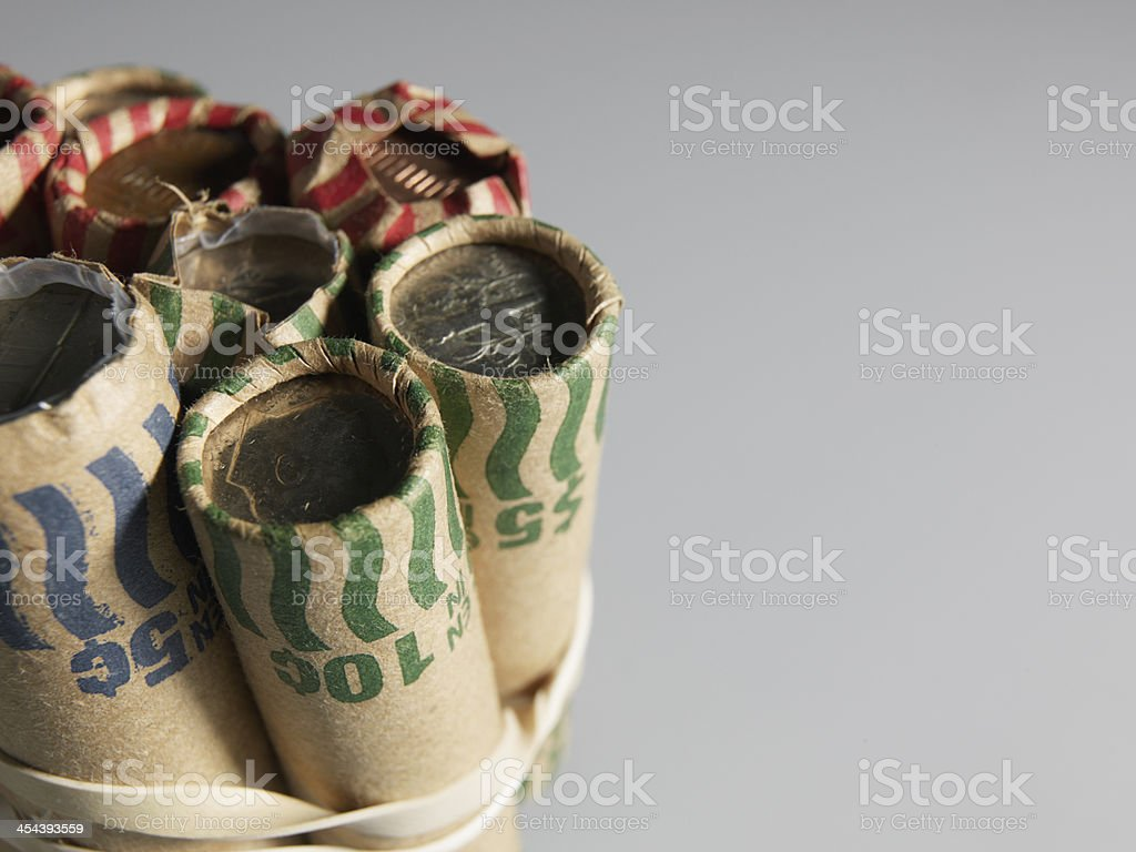 US Coin Rolls stock photo