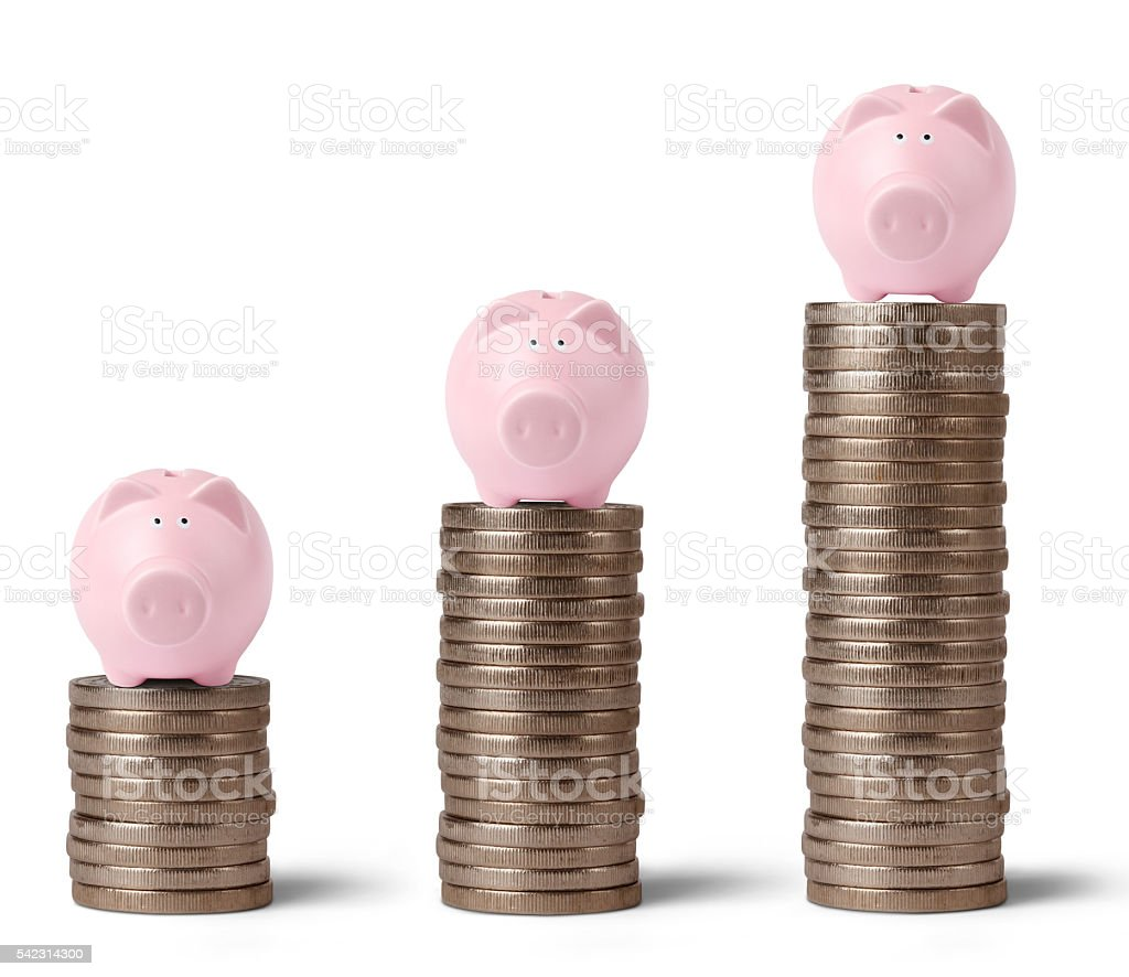 Coin rolls with piggy bank stock photo