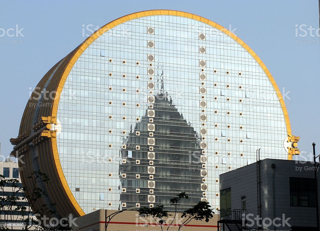 Coin shaped office building stock photo