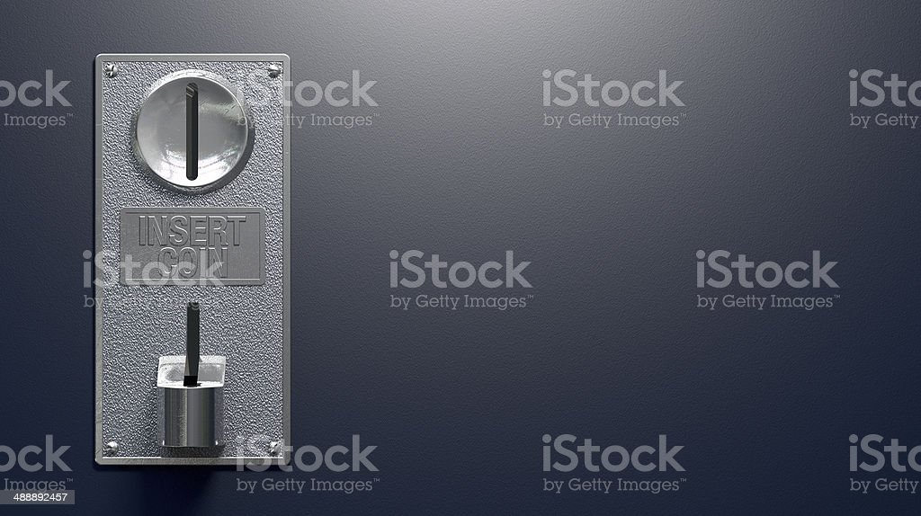 Coin Slot On Blue Background stock photo
