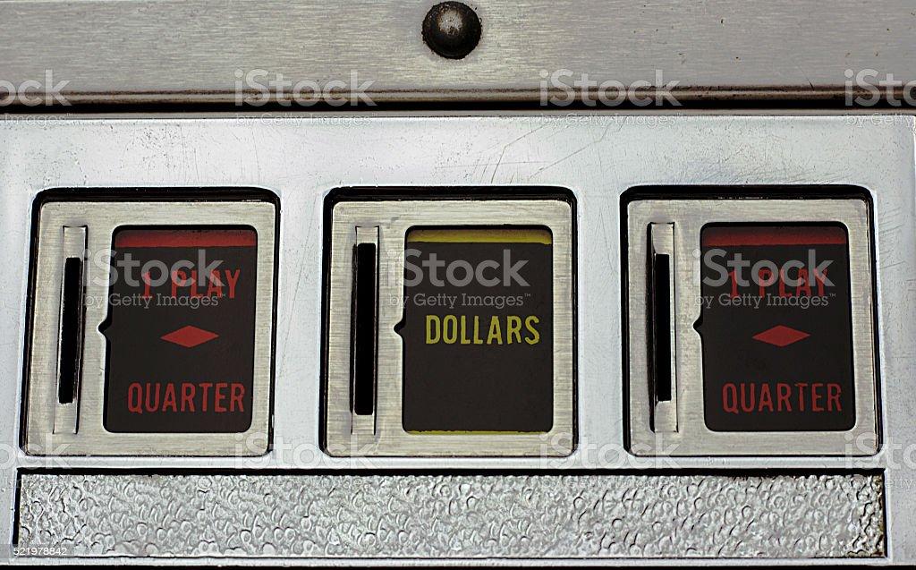 Coin Slots of a Pinball Machine stock photo
