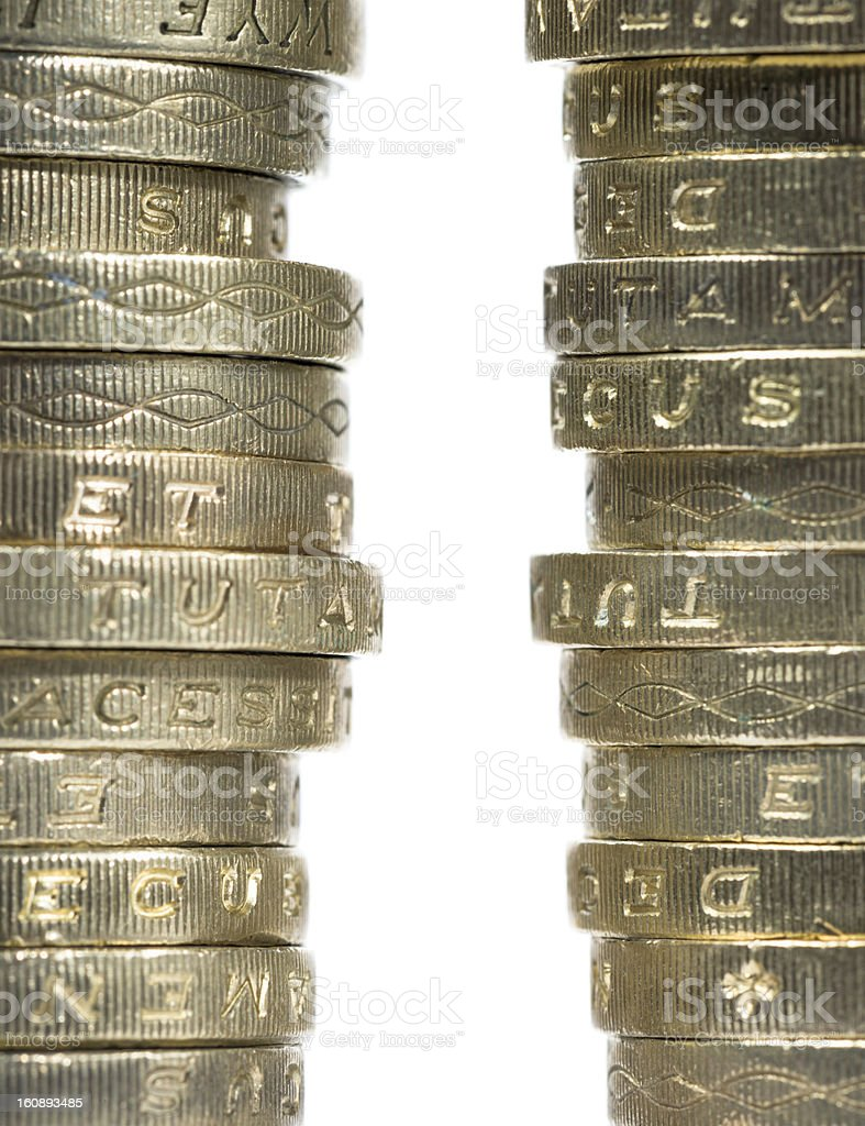 Coin Stacks Macro royalty-free stock photo