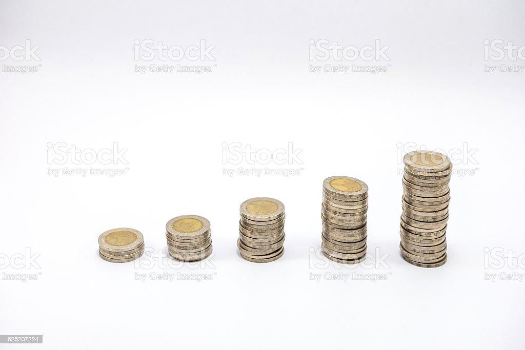 coin stacks stock photo