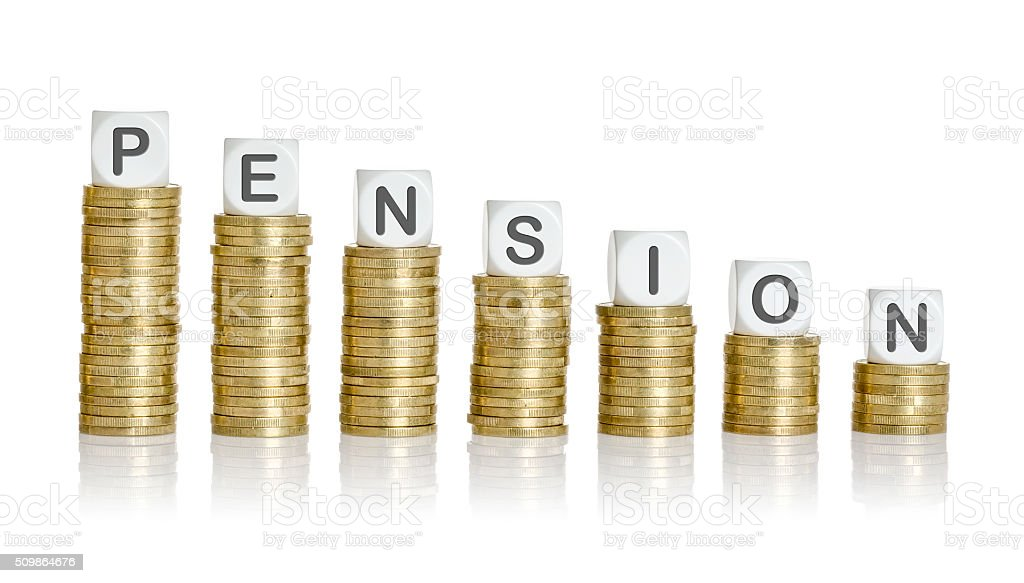Coin stacks with letter dice - Pension stock photo